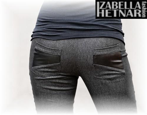 Tehotenské nohavice  NANA  - čierny jeans