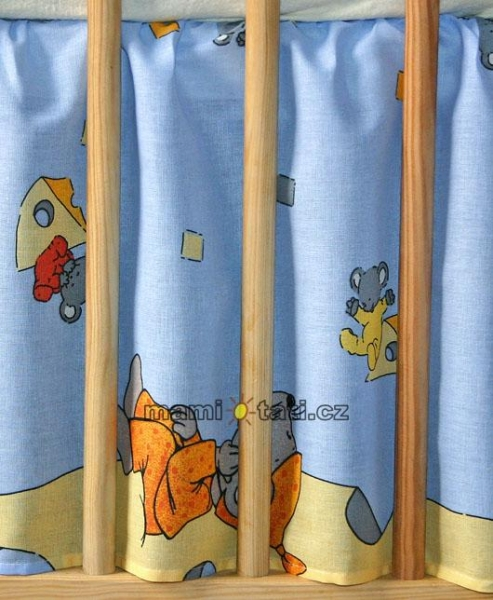 Krásny volánik pod matrac - Myšky modré, 140x70
