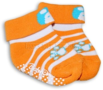 Bavlnené protišmykové froté ponožky 0-6m - oranžoví pruhy, Panda