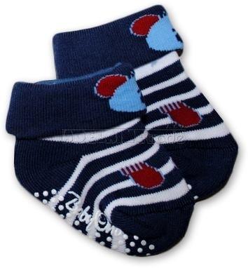 Bavlnené protišmykové froté ponožky 0-6m - tm.modrá s pruhmi, Macko