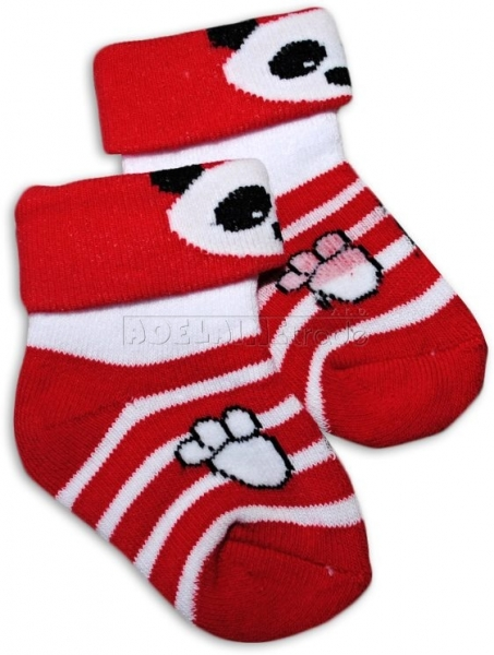 Bavlnené froté ponožky 0-6m - červené s pruhom Panda