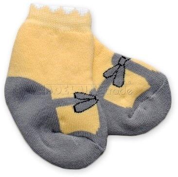 Bavlnené froté ponožky 0-6m - žlté Baletka
