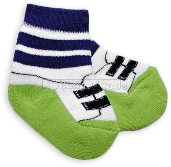 Bavlnené froté ponožky 0-6m - zelené s pruhom Topánka