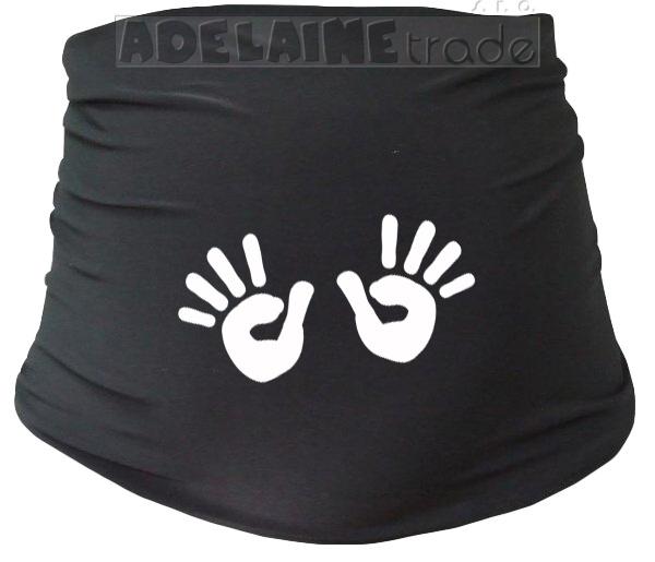 Mamitati Tehotenský pás s ručičkami - čierny S/M