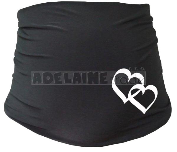 Tehotenský pás so srdiečkami - čierny