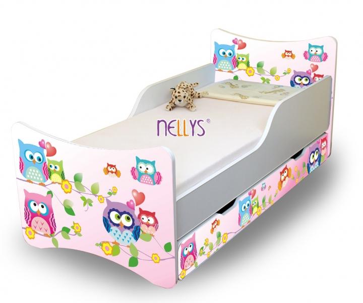 NELLYS Detská posteľ so zábranou a šuplík/y sovička, 160x80 cm