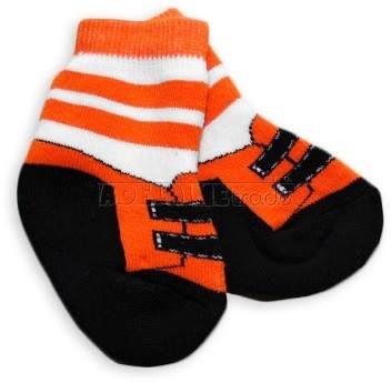 Bavlnené froté ponožky 0-6m - oranž s pruhom Topánka
