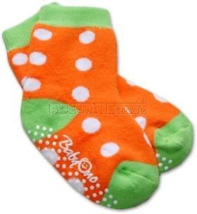 Bavlnené protišmykové froté ponožky 6-12m - bodka / oranž