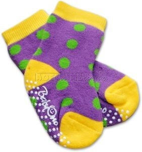 Bavlnené protišmykové froté ponožky 6-12m - bodka / fialové