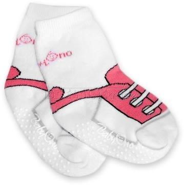 Bavlnené protišmykové froté ponožky 6-12m - bielo / ružovej