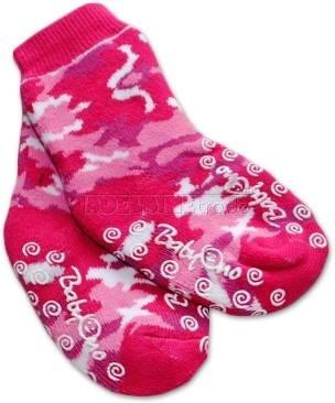 Bavlnené protišmykové froté ponožky 6-12m - ružové