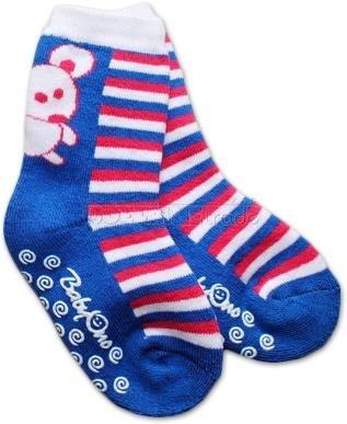 Bavlnené protišmykové froté ponožky 12m + - modré pruhy