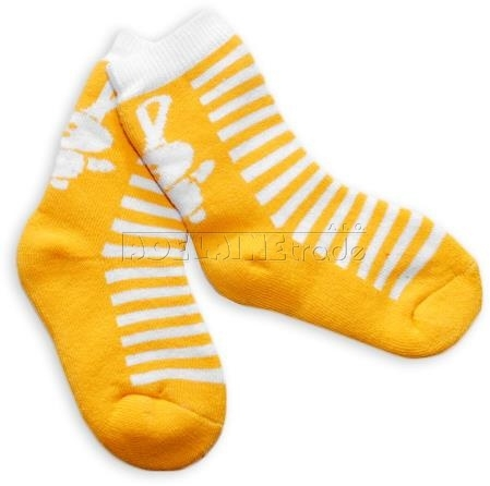BabyOno Bavlnené froté ponožky 12m + - žlté pruhy