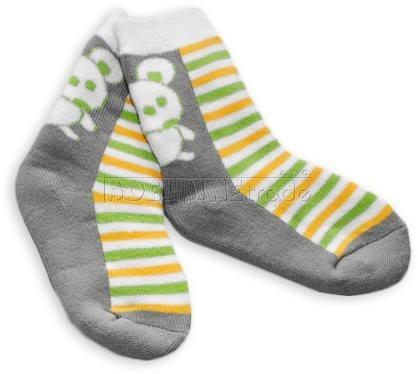 Bavlnené froté ponožky 12m + - khaki pruhy