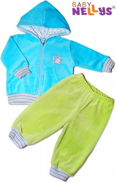 Baby Nellys Tepláková súpravička s kapucňou - tyrkysová / zelená