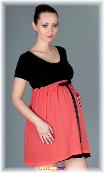 Elegantné tehotenské šaty so stuhou - koral