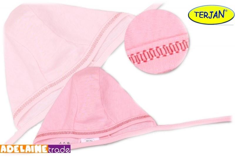 Novorodenecká čiapočka na zaväzovanie - sv. ružová, 62 (2-3m)