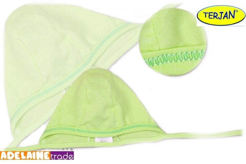 Novorodenecká čiapočka na zaväzovanie - sv. zelená