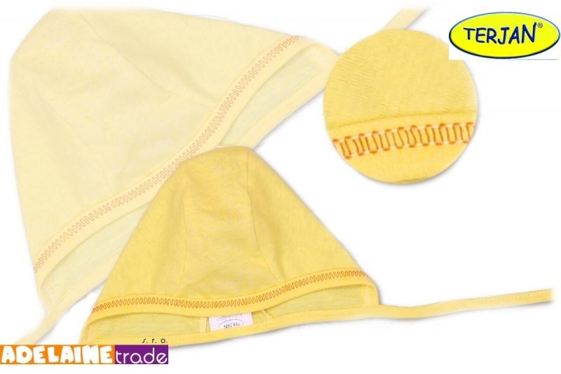 Novorodenecká čiapočka na zaväzovanie - žltá / krémová