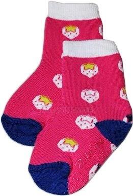 Bavlnené protišmykové froté ponožky 6-12m - jahôdky v ružovej
