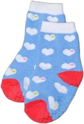 Bavlnené protišmykové froté ponožky 6-12m - srdiečka v modrej