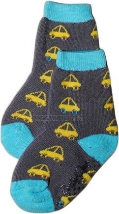 Bavlnené protišmykové froté ponožky 6-12m - autíčka v šedej