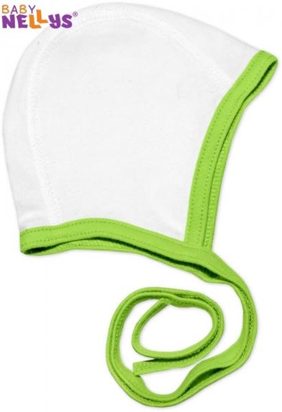 Novorodenecká čiapočka na zaväzovanie Baby Nellys - biela / zelený lem
