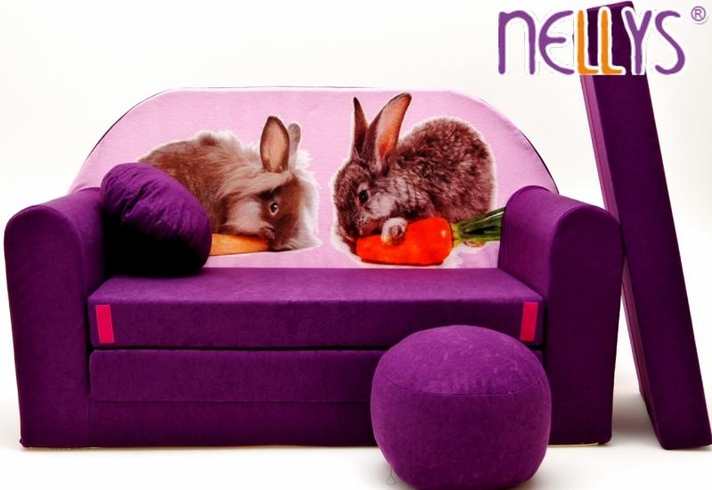 NELLYS Rozkladacia detská pohovka 56R - Zajačikovia vo fialovej