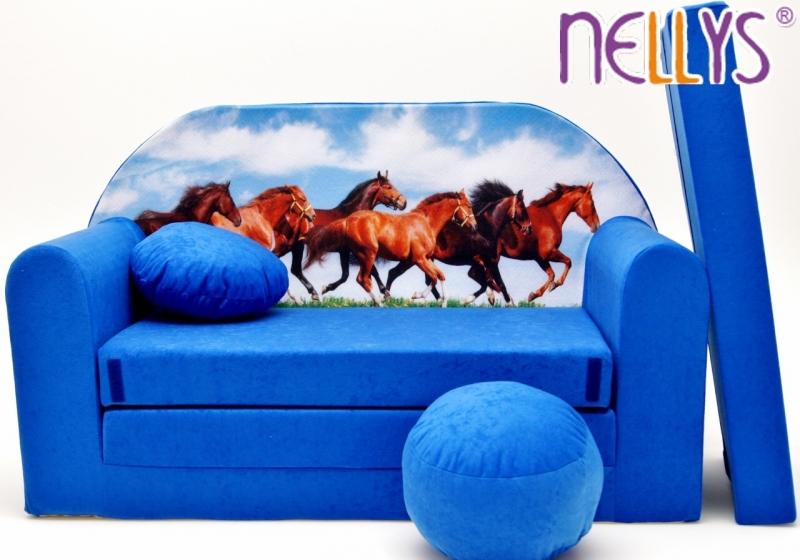 NELLYS Rozkladacia detská pohovka 57R - Kone v modrom