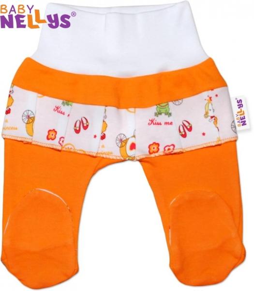 Polodupačky Baby Nellys® oranžovej / volánik Princezná
