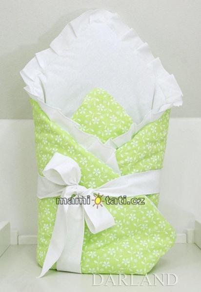 Luxusné zavinovačka s mašľou - Kvetinky v zelenej