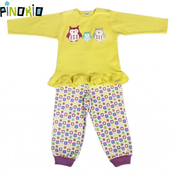 Pyžamko Pinokio - žltá / kostička alebo prúžok-80 (9-12m)
