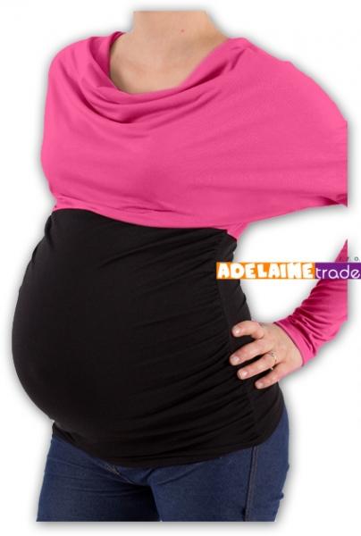 Tehotenská tunika VODA DUO - ružovo-čierny