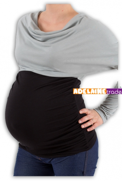 Tehotenská tunika VODA DUO - šedo-čierny