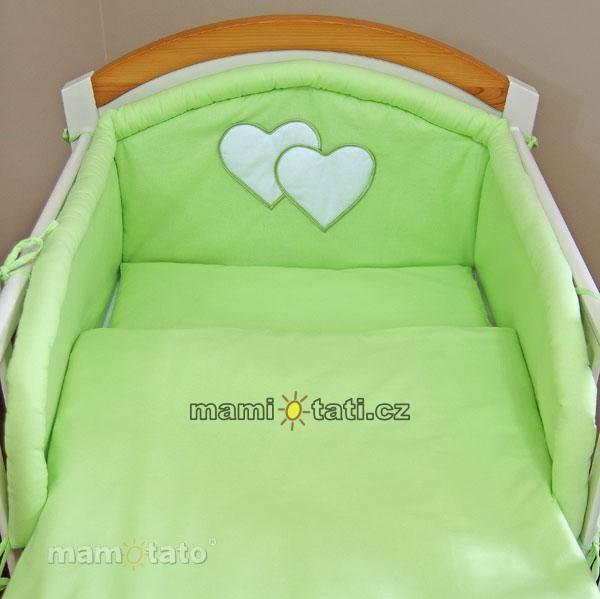 Flanelové obliečky - Srdiečko zelené