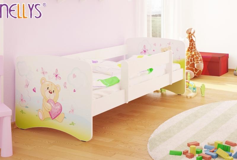NELLYS Detská posteľ s bariérkou Nico - Míša srdiečko / biela - 160x80 cm