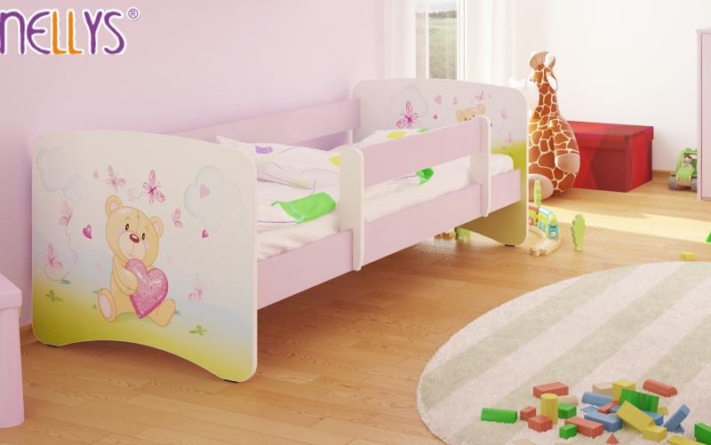 Detská posteľ Nellys ® - Míša srdiečko / sv.ružová
