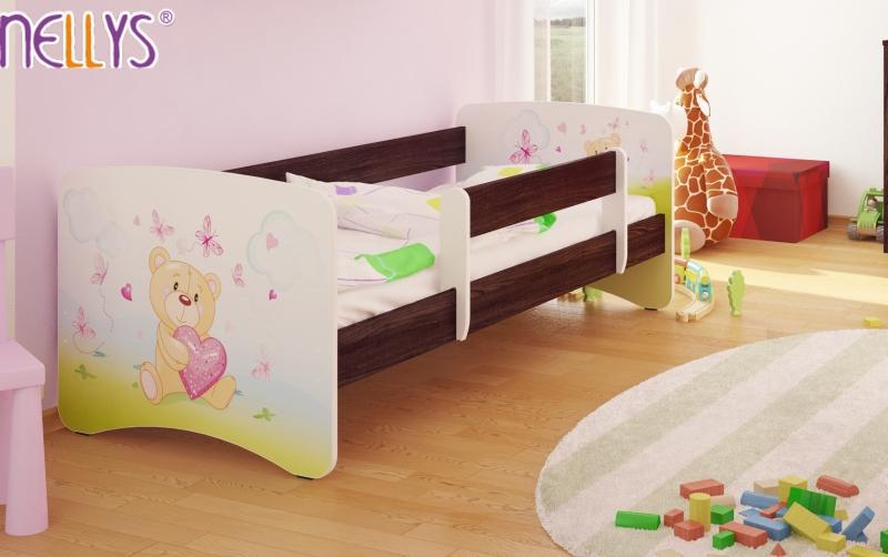 Detská posteľ s bariérkou Nico - Míša srdiečko / tm.hnedá, 180x90 cm