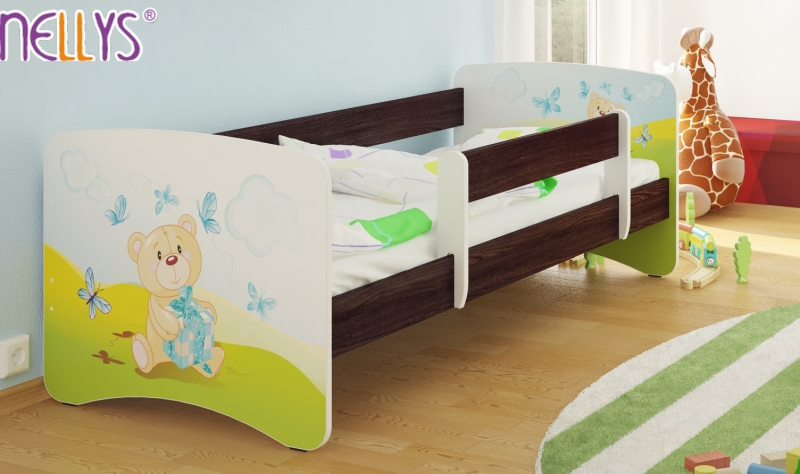Detská posteľ s bariérkou Nico - Míša darček / tm.hnedá, 180x80 cm