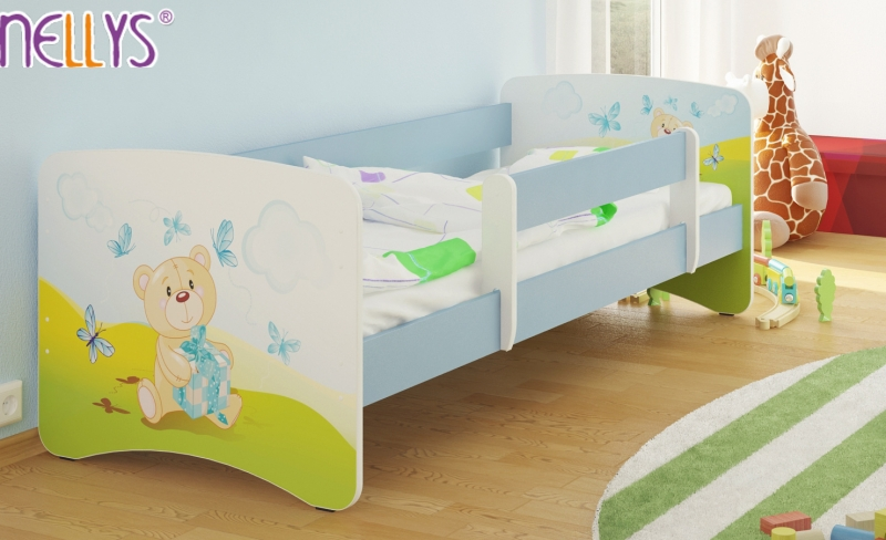 Detská posteľ s bariérkou Nico - Míša darček/sv.modrá, 160x90 cm