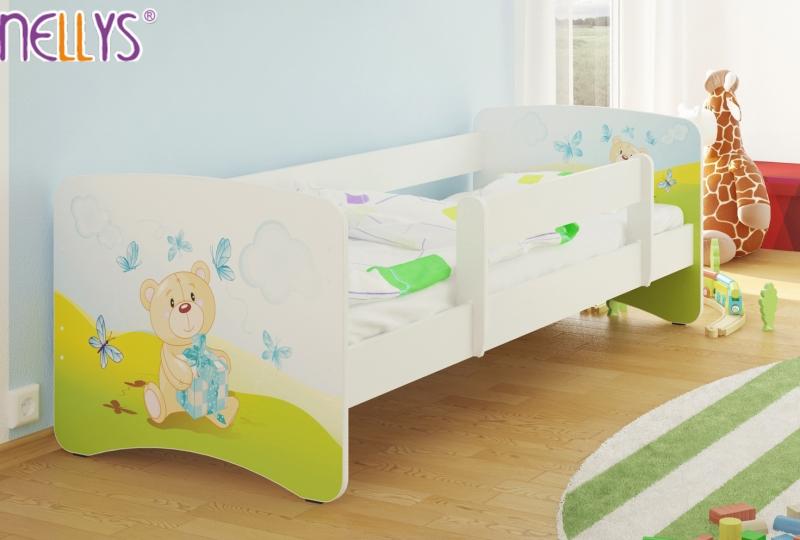 NELLYS Detská posteľ s bariérkou Nico - Míša darček/biela, 160x80 cm