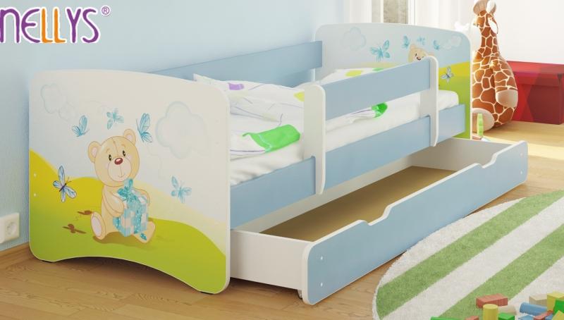Detská posteľ s bariérkou a  zásuvkou/ky Nico - Míša darček/sv.modrá, 160x80 cm