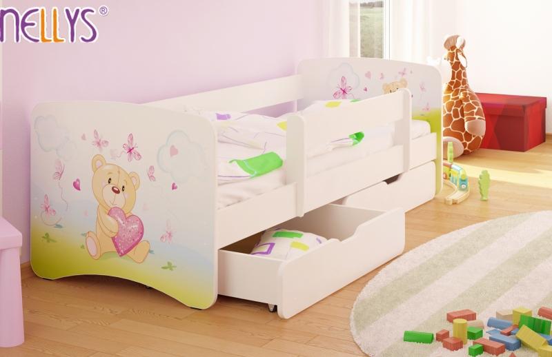NELLYS Detská posteľ s bariérkou a zásuvkou/ky Nico - Míša srdiečko/biele, 180x80 cm