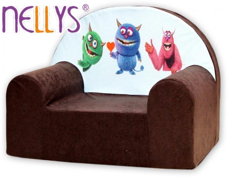 Detské kresielko / pohovečka Nellys ® - Príšerky v hnedej