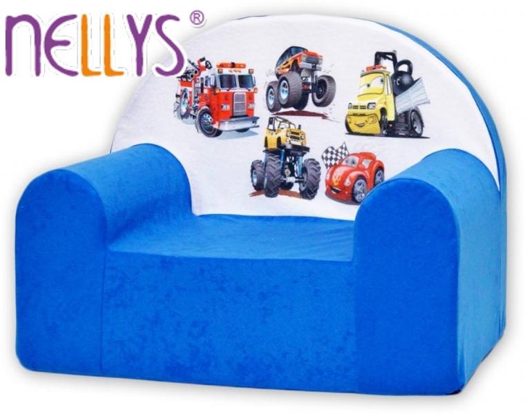 Detské kresielko / pohovečka Nellys ® - Autá v modrej