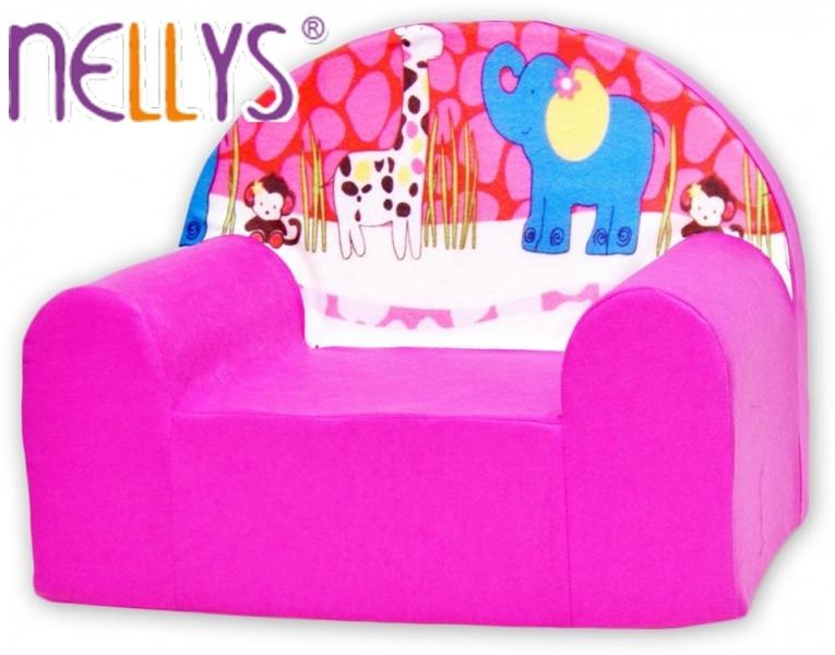 Detské kresielko / pohovečka Nellys ® - Safari v ružovej