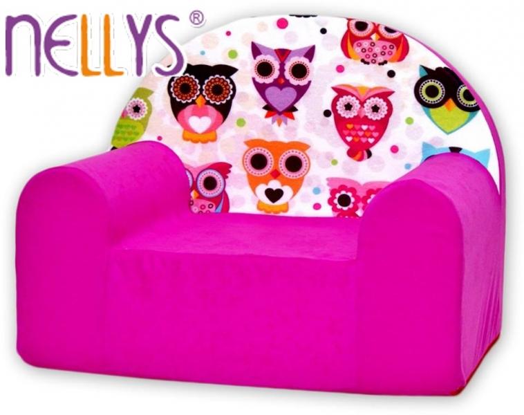 Detské kresielko / pohovecka Nellys ® - Sovy ružové