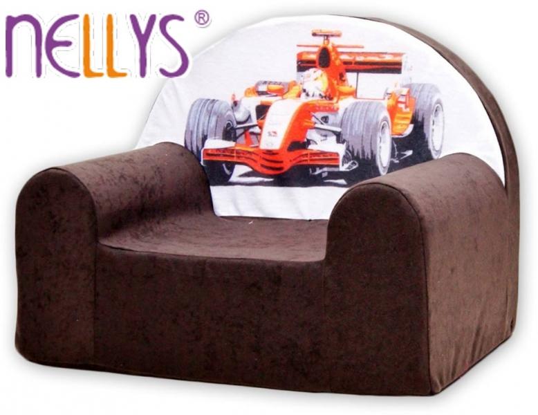 Detské kresielko / pohovečka Nellys ® - Formula I v hnedej