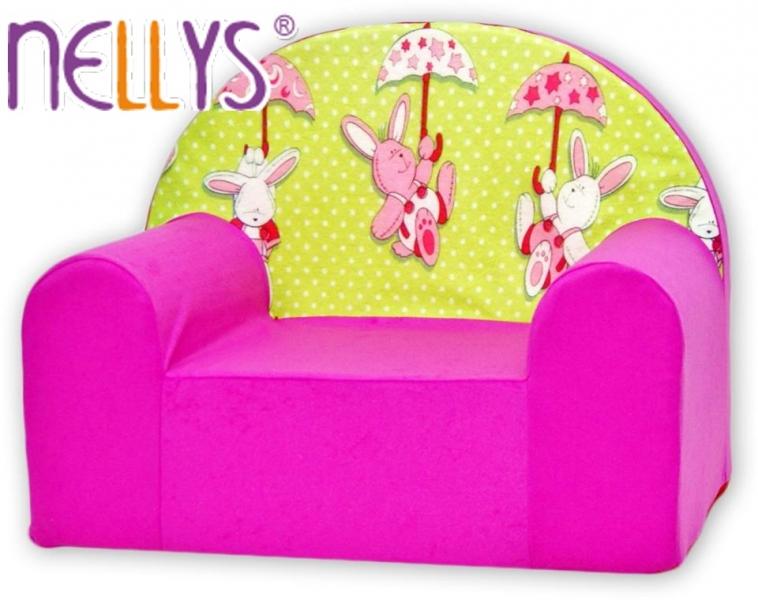 Detské kresielko / pohovečka Nellys ® - Zajačikovia v ružovej