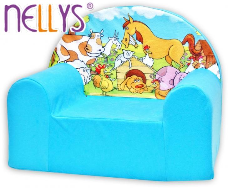 Detské kresielko / pohovečka Nellys ® - Farma v modrom